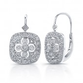 14k White Gold Cut-Out Diamond Earrings