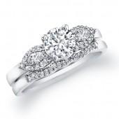 14k White Gold Three Stone Semi Mount Bridal Set