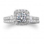 14k White Gold Diamond Halo Engagement Ring Set