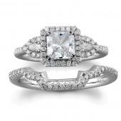 18k White Gold Three Stone Diamond Bridal Set