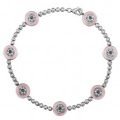14k White Gold Diamond Sapphire Evil Eye Tennis Bracelet