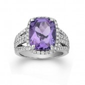 14k White Gold Split Shank Diamond Amethyst Cocktail Ring