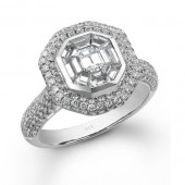14k White Gold Emerald Cut Diamond Mosaic Ring