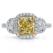 18k White and Yellow Gold Radiant Fancy Yellow Diamond Engagement Ring