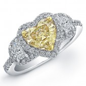 18k White and Yellow Gold Heart Shaped Fancy Yellow Diamond Ring