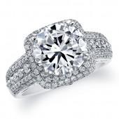 14k White Gold Diamond Halo Pave Semi Mount