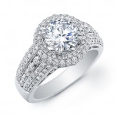 14k White Gold Pave Diamond Halo Engagement Ring Semi Mount