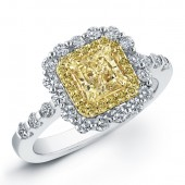18k White and Yellow Gold Radiant Fancy Yellow Diamond Ring