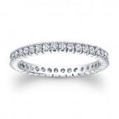 14k White Gold White Diamond Prong Set Eternity Band