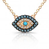 14k Rose Gold Mini Evil Eye Necklace