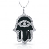 14k White Gold Black Enamel Diamond Hamsa Pendant