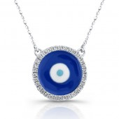 14k White Gold Diamond Enamel Evil Eye Necklace
