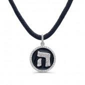 14k White Gold Diamond Hebrew Letter Black Enamel Disk Necklace