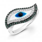 14k White Gold Swirl Evil Eye Ring