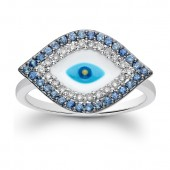14k White Gold Diamond and Sapphire Evil Eye Ring