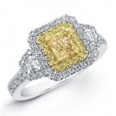 18k White and Yellow Gold Fancy Yellow Diamond Ring