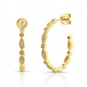 14k Yellow Gold Diamond Pave Hoop Earrings