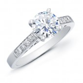 14k White Gold Classic Pave Diamond Engagement Ring