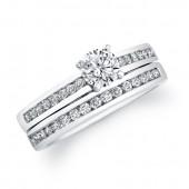 14k White Gold Sleek Channel Diamond Bridal Set