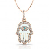 14k Rose Gold Diamond White Enamel Hamsa Pendant