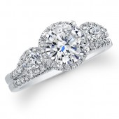 18k White Gold Diamond Three Stone Engagement Ring Set
