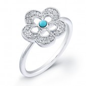 14k White Gold Diamond Flower Ring