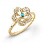 14k Yellow Gold Turquoise & Diamond Ring