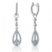 14k White Gold Peace Diamond Earrings