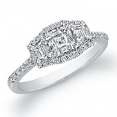 14k White Gold Fiery Three Stone Diamond Engagement Ring