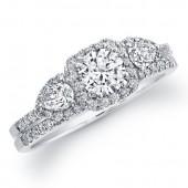 14k White Gold Diamond Halo Three Stone Bridal Set