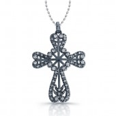 14k Black Gold Diamond Cross Pendant