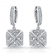 14k White Gold Diamond Chopper Earrings