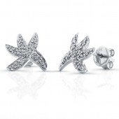 14k White Gold Starfish Diamond Earrings