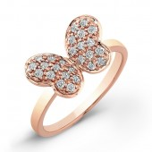14k Rose Gold Diamond Butterfly Ring