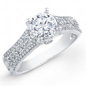 14k White Gold Contemporary Diamond Semi Mount