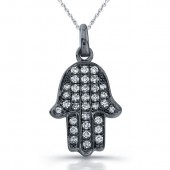 14k Black Gold Diamond Micro Pave Hamsa Pendant
