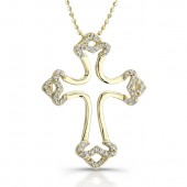 14k Yellow Gold Diamond Micro Prong Cross Pendant