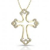 14k Yellow Gold Diamond Micro Prong Cross Pendant