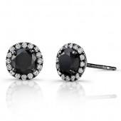 14k Black Gold Stud Earrings with White Diamond Halo and Black Diamond Center