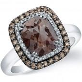 18k White Gold Rose Cut Brown Diamond Halo Ring