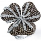 14k White Gold Pave Brown Diamond Flower Ring