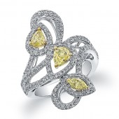 18k White and Yellow Gold Fancy Yellow Diamond Fashion Ring