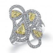 18k White and Yellow Gold Fancy Yellow Diamond Fashion Band