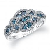 14k White Gold Blue Diamond Fashion Ring