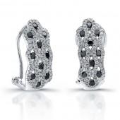 14k White Gold Black Diamond Honey Comb Earrings