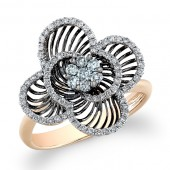 14k Rose and Black Gold Diamond Wire Flower Ring
