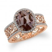 18k Rose Gold Brown Diamond Cut Out Shank Fashion Ring