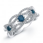 14k White Gold Treated Blue Diamond Woven Band