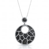 14k White Gold Black and White Diamond Animal Print Chandelier Pendant