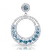14k White Gold Treated Blue Diamond Large Dangle Hoop Earrings